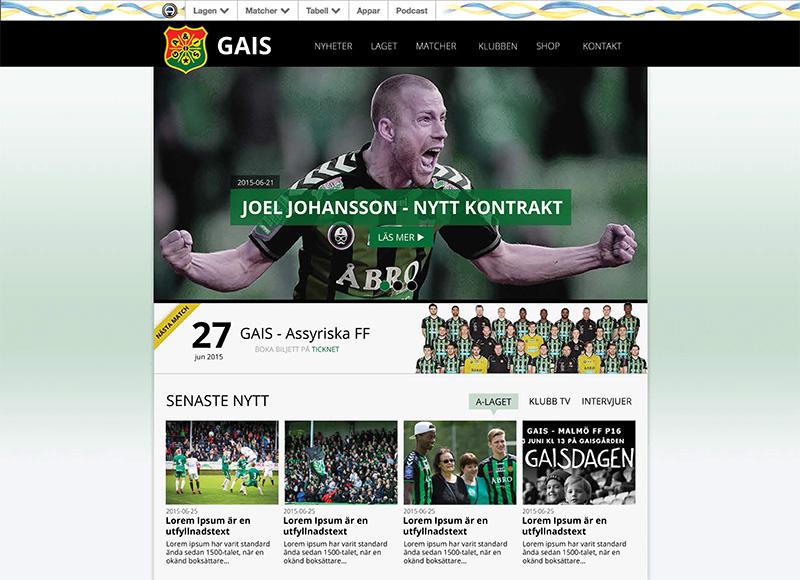 Det är vi som har byggt GAIS nya webbsida